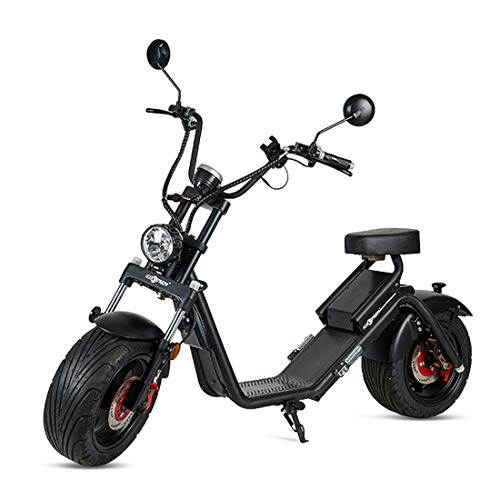 VIRTUE Moto electrica Matriculable Scooter de 1200w bateria 60v 20Ah Caigiees Patinete Bici Chopper City Coco matricula Color Negro