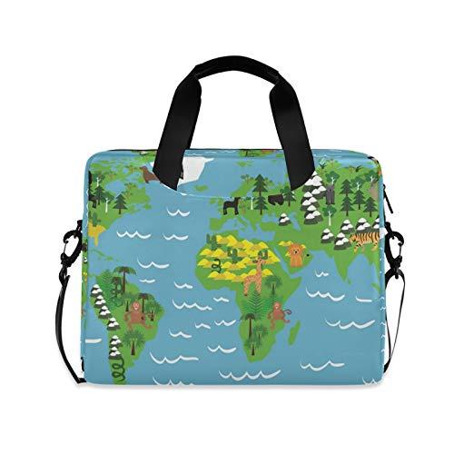 Wold Map Ocean Animal - Funda de hombro compatible con portátiles de 14 a 15,6 pulgadas, diseño de mapa, color azul