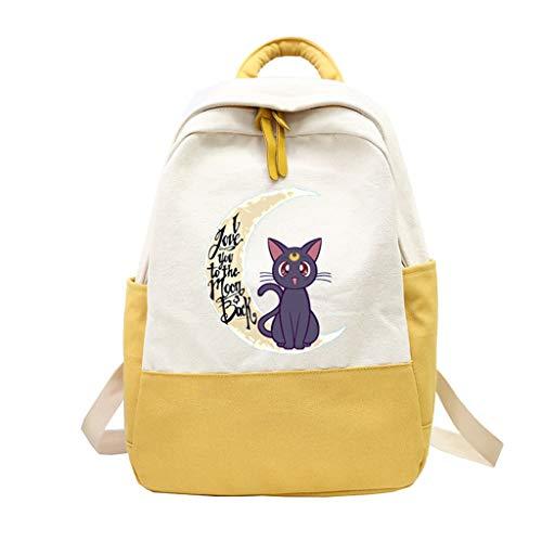 ZXJWZW Cartoon Anime Rucksack Sailor Moon Patchwork Rucksack Rucksack Kind Mädchen Junge Casual Schoolbag Schultern Tasche