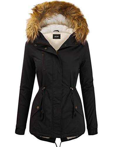 FASHION BOOMY Women's Zip Up Safari Military Anorak Jacket with Hood Drawstring - Regular and Plus Sizes Medium S-Black