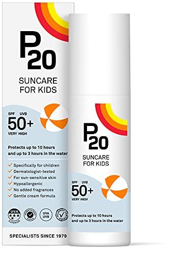 P20 ® | Sonnencreme Kinder | Sehr hoch wasserabweisender Sonnenschutz für Kinder spf 50 zum zuverlässigen Schutz vor UVA- und UVB-Strahlen | Daylong Sonnencreme Creme Format | 100 ml