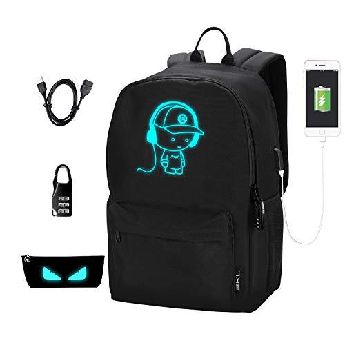 School Backpack School Bag Bookbag Cartoon Anime Backpack with USB Charging Port for Boys Girls Teens