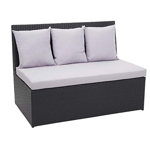Mendler Poly-Rattan 2er Sofa HWC-G16, Lounge-Gartenbank Sitzbank Sessel, Gastronomie 120cm ~ schwarz, Kissen hellgrau