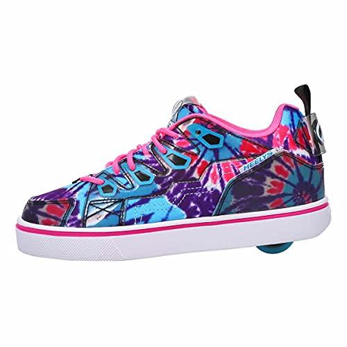 HEELYS Girl's Tracer (Little Kid/Big Kid/Adult) Blue/Neon Pink/Tie-Dye 7 Big Kid M