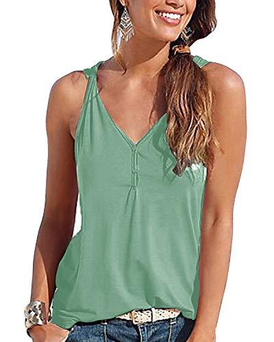 YOINS Top Damen Sexy Bluse Sommer V-Ausschnitt Oberteil Lose Weste Tunika Damen Tiefer T-Shirt Einfarbig