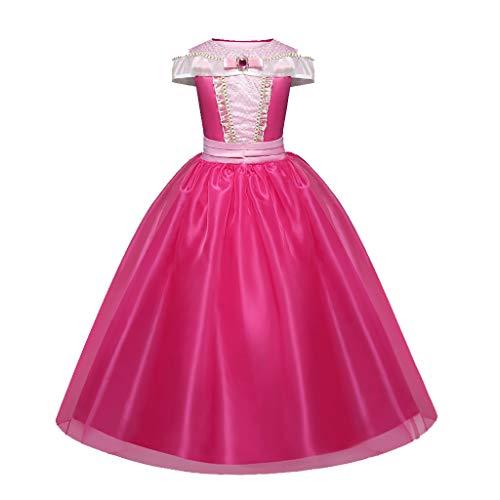 Ragazze Principessa Aurora La Bella Addormentata Costume Festa di Compleanno Vestire Bambine Halloween Vacanza Carnevale Festival Abiti(Rosa Caldo,110)