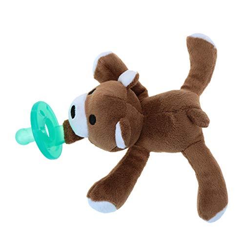 Carolilly Chupetes de dibujos animados, chupetes para bebés con peluche para recién nacidos, juguetes de silicona (oso, 7 cm x 3)