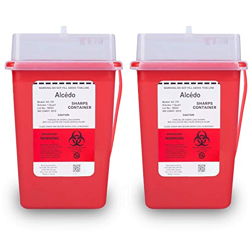 Sharps Container for Home Use and Professional 1 Quart (2-Pack) by Alcedo | Biohazard Needle and Syringe Disposal | Small Portable Container for Travel
