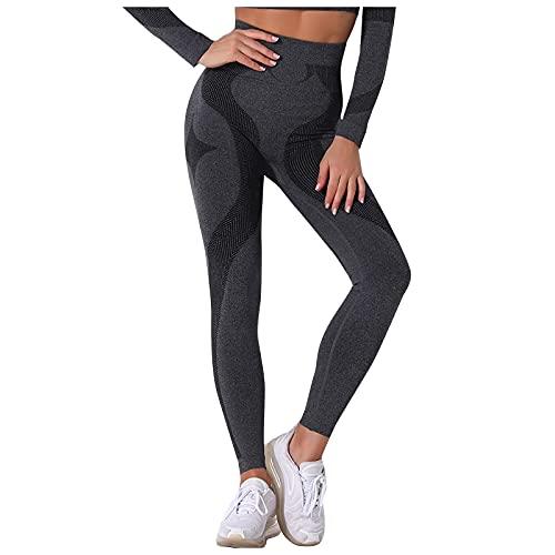 Pantalones Deportivos Mujer Push Up Leggins de Color Sólido Cintura Alta Pantalón de Deporte Fitness Leggins Mujer de Fitness Mallas Transpirables Elásticos Yoga y Pilates