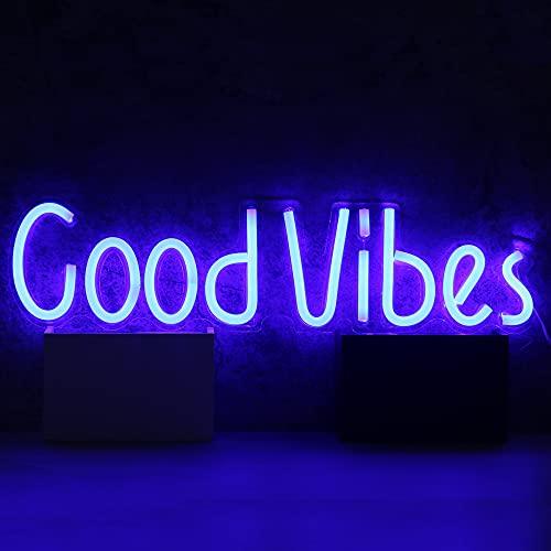 Señal de luz de neón de media y media marca Goodvibes LED de neón de pared para dormitorio de niñas, habitación de niños, chistmas, boda, fiesta de cumpleaños con alimentación USB (Goodvibes)