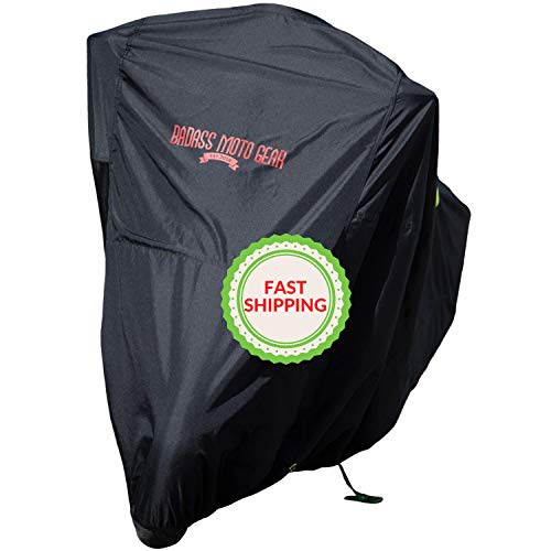 "Badass Moto Ultimate Motorcycle Cover Ships Now if You Choose Ship by Badass Moto Option Waterproof Outdoor Storage Keep Your Bike 100% Dry Clean Safe Large 97""L x 57""H Harley Cruisers Metrics"