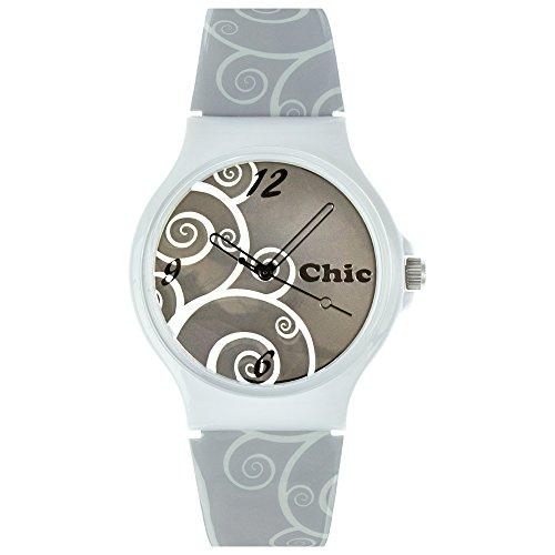 Teenie-Weenie Chic Watches UC025 - Orologio da polso da donna, cinturino in plastica colore grigio