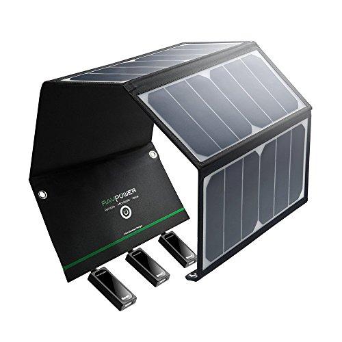 RAVPower Cargador Solar Portátil De 24 W con 3 Puertos USB iSmart 21.5 - 23.5% Conversión Energía Solar, Chip Smart IC, Plegable, Impermeable, 2 Cables Micro USB