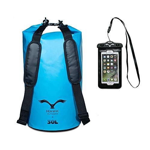 HAWK OUTDOORS Dry Bag - wasserdichter Packsack mit gepolsterten Schulter-Gurten inklusive wasserdichter Handy-Hülle - 30L - Stausack Seesack - Wasserfester Rucksack - Kajak, Rafting, Segeln, Surfen