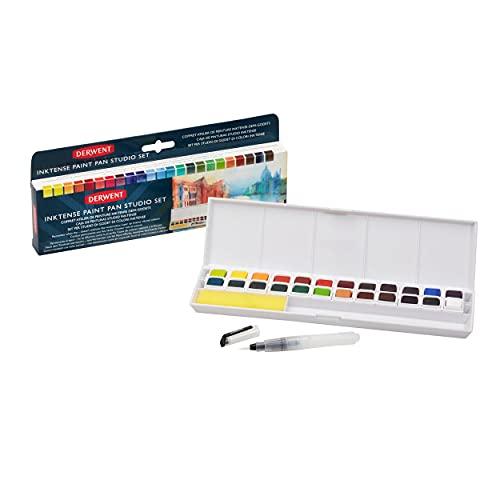 Derwent Inktense - Palette de Peintures Permanentes, 24 Couleurs, Pinceau Waterbrush et Éponge Inclus, Utilisable sur le Tissu, Qualité Professionnelle, 2305545
