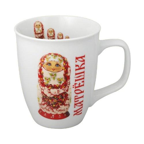 4-er Tassen-Set Matröschka in rot Kaffeetassen 400ml