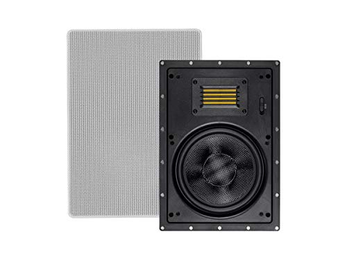 Buy Monoprice 2-Way Carbon Fiber in-Wall Speakers - 8 Inch (Pair) with Magnetic Grille and Ribbon Tw...
