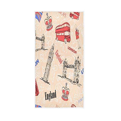 QMIN Toalla de Mano diseño de la Bandera de Inglaterra y Londres, Toalla de Playa Absorbente para Gimnasio, Yoga, Deportes, SPA, hogar, Cocina, 76,2 x 38,1 cm