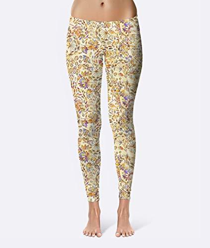 Batik Forest Floral Premium Women's High Waist Leggings featuring original design by Artist Dan Morris