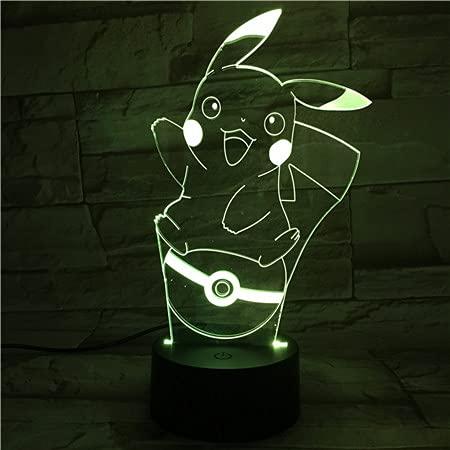 Lampara LED Videojuego Pokémon Pikachu Pokéball Cambia Color USB Luz nocturna y decoración