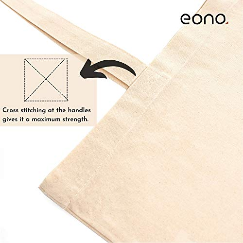 Amazon Brand - Eono Reusable Tote Bags | 100% Organic Cotton Shopping/Grocery Bag | Eco-Friendly, Multi-Purpose Bag | Sturdy Canvas Bag with 15kgs Capacity | Multiple Stylish Designs | Single Pack | WATCHA LOOKIN AT?