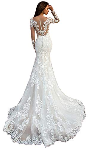 WaterDress Long Sleeve Mermaid Wedding Dresses for Bride 2021 Lace Applique Boho Bridal Gowns for Women Ivory 10