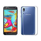 SCDMY Carcasa para Samsung Galaxy A2 Core Funda + Cristal Templado, Transparente Silicona Case, Fuerte protección de Suave TPU Funda y HD Cristal Templado para Samsung Galaxy A2 Core (5.0'),Clear
