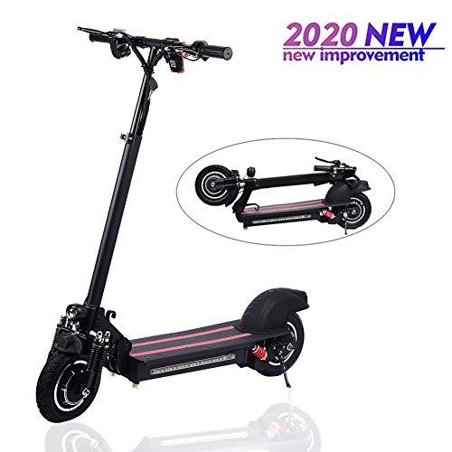 lingzhuo-shop Monopattino Elettrico per Adulti Adulto Bambini Pieghevole Mini Scooter Electrico velocità Massima 45km/h, 50KM di Autonomia Doppio Disco da 10 Pollici (Nero E Rosso)
