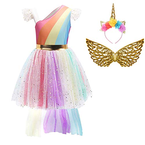 FONLAM Disfraz Vestido de Princesa Fiesta Niña, Multicolor, 5-6 Años