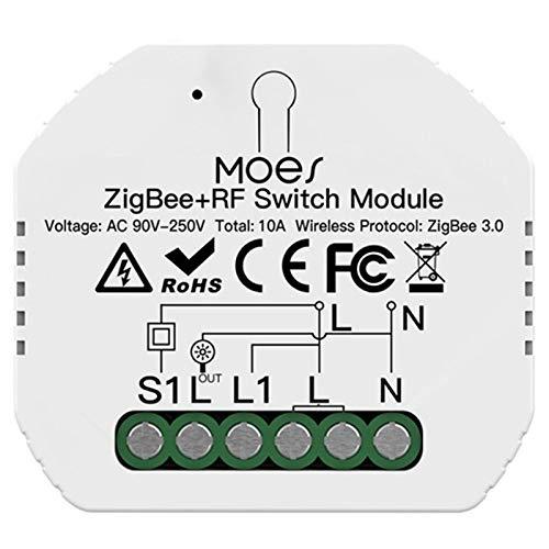 OVBBESS Tuya ZigBee 3.0 Interruptor de Luz Módulo 1 Gang Control Remoto Trabajo con para Control de Voz
