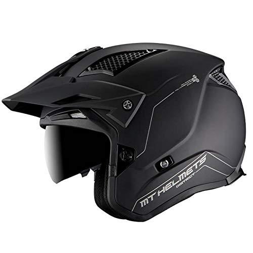 MT Helmets - Casco Jet Moto MT District SV (M, Negro Mate)