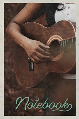 Notebook: Guitarra Acustica Excellent Composition Book Journal Diary for Men, Women, Teen & Kids Vintage Retro Design for Folk Music Fans