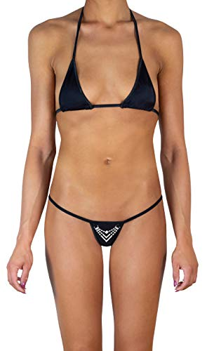 Sohimary 240 Damen Mini Glitzer String Tanga Bikini XS S M 32 34 36 38 Schwarz