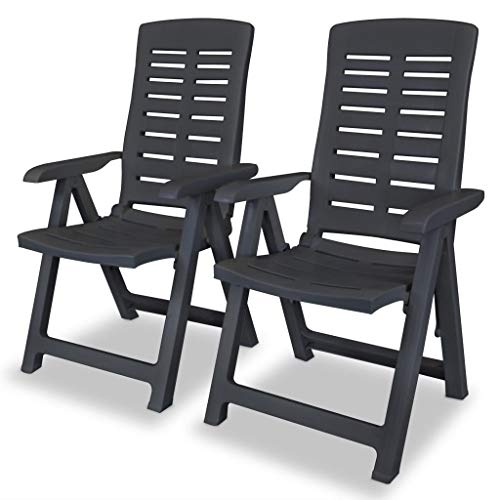 vidaXL 2X Gartenstuhl Verstellbar Witterungsbeständig Hochlehner Liegestuhl Klappstuhl Klappstühle Gartenstühle Stuhl Stühle Kunststoff Anthrazit