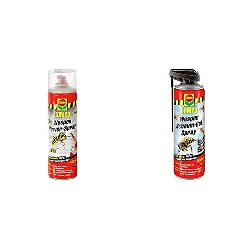 Compo Wespen Power-Spray, Inkl. Power-Düse, Sofort- und Langzeitwirkung, 500 ml & Wespen Schaum-Gel-Spray inkl. Sprührohr, Sofort- und Langzeitwirkung, 500 ml