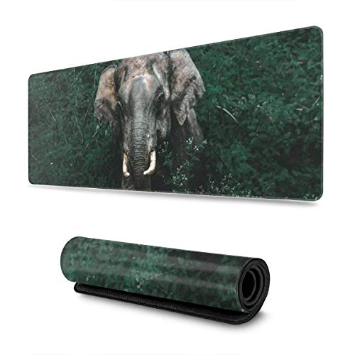 GamingMouse Pad Forest Elephant Design Pattern XXL XL Large Gaming Mouse Pad Mat Long Extended Mousepad Desk Pad Non-Slip Rubber Mice Pads Stitched Edges (31.5x11.8x0.12 Inch)