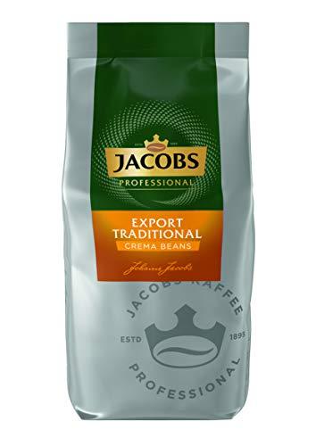 Jacobs Professional Export Traditional Crema Beans, 1kg Bohnenkaffee, ganze Bohne, Café Crema, gehaltvolles und würziges Aroma
