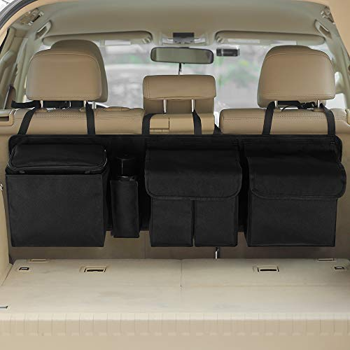 IPARTS EXPERT Deluxe Car Backseat Trunk Organizer, Large Hanging Storage Bag for Car Truck SUV Van RV, Space Saving Car Organizer with Built-in Cooler (42 x 22 inch)