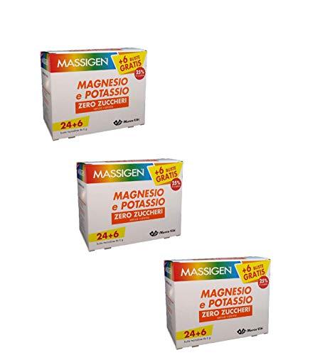 3 x Massigen Magnesio e Potassio Zero Zuccheri 24 Buste + 6 Om