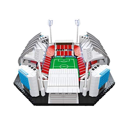 TETAKE Fußballstadion Bausteine Modellbausatz mit LED Beleuchtung, 4650 Klemmbausteine und 21 Minifiguren-Fußballspieler, Kompatibel mit Steine aus Danemark