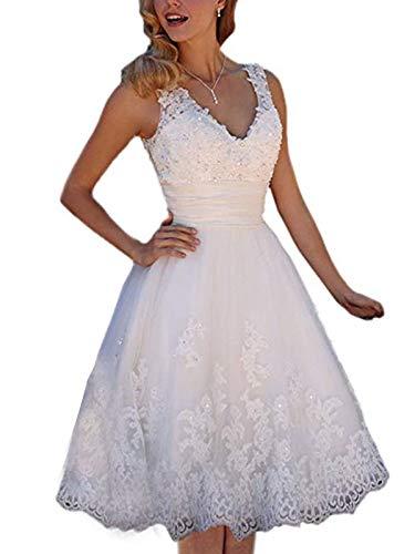 Short Lace Wedding Dresses Knee Length Travel Tulle Rhinestones V-Neck Lace Up Bride Gowns Vintage Dress White US 10