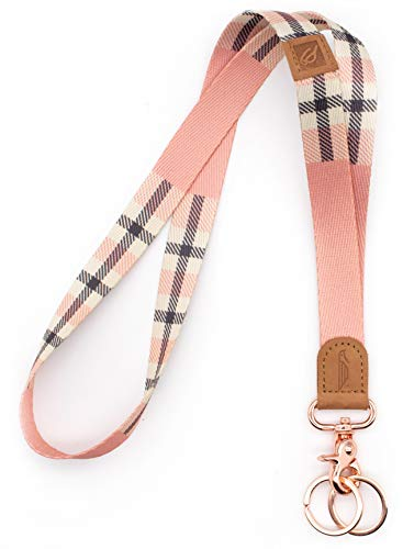 POCKT Lanyard for Keys Neck Lanyard Key Chain Holder for Men and Women - Cool Neck Lanyards for Keys, Wallets and ID Badge Holders   Pink Plaid