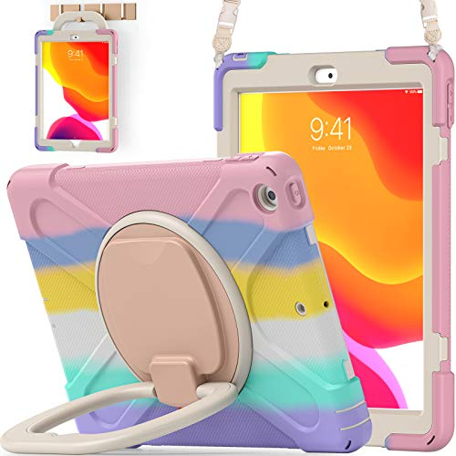 BATYUE iPad 8th/ 7th Generation Case (iPad 10.2 inch Rugged Case 2020/2019) with Screen Protector, Rotating Stand/Hand Strap/Pencil Holder/Pencil Cap Holder/Carrying Strap (Colourful Pink)