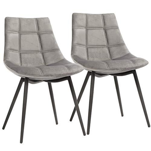 SONGMICS Esszimmerstühle 2er Set, moderne Küchenstühle, Polsterstühle mit Eisenbeinen, angenehm glatte Samtoberfläche, Loungesessel, grau LDC84GY