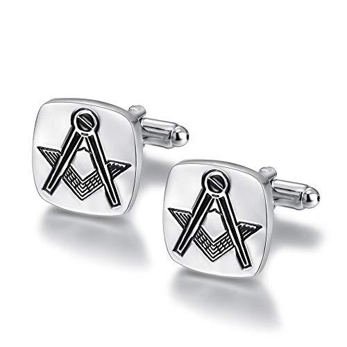 BOBIJOO Jewelry - Boutons de Manchette Loge Forme Carrée 17mm Franc-Maçon Equerre Compas Gravure