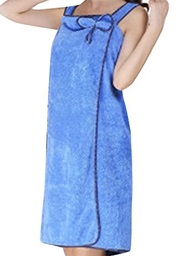 [ネルロッソ] 着る バスタオル レディース バスローブ ラップタオル ルームウェア ワンピース ガウン もこもこ ゆるふわ 正規品 約80cm×約135cm ブルー1 cka241952-Free-bu1