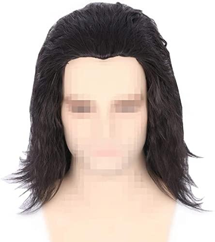 Hombres S Short Straight Wig Cosplay Loki Wig Short Negro Peluca en Capas en Capas para Halloween Vestido de Lujo Zdwn