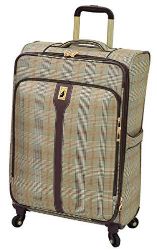 LONDON FOG Knightsbridge Hyperlights Softside Expandable Spinner Luggage, Grey/Navy Plaid, Checked-Medium 25-Inch