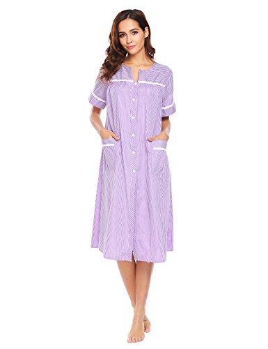 Ekouaer Duster Robe Women's Sleepwear Comfortable and Casual Long Nightgown (Purple,S)