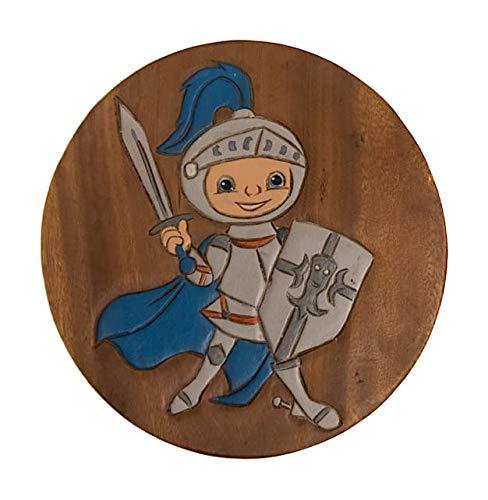 ROMBOL Handgefertigter Kinderhocker, Holz, Kinderhocker:Ritter
